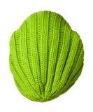 Связанная шляпа изолированная на белой предпосылке цвет шляпы зеленый шлем Стоковые Фото
