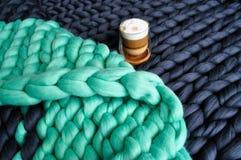 Связанное одеяло шерстей merino Стоковое Фото