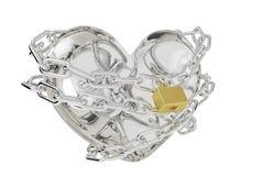Связанное стеклянное сердце, сердце стекла замка иллюстрация штока