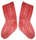 Связанные красные теплые носки на белой предпосылке иллюстрация акварели для дизайна иллюстрация вектора