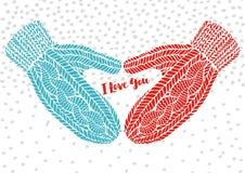 Связанные перчатки и слова я тебя люблю, открытка приветствию вектора Стоковая Фотография