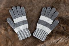 Связанные перчатки на предпосылке меха Стоковые Фотографии RF