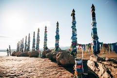 Связанные поляки Shamanic покрасили ленты Стоковая Фотография RF