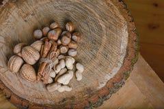 Связанные ручки циннамона состава шнуруют и 3 вида гаек, на пне, на деревянной предпосылке, конец вверх, место для текста, компле Стоковые Фото