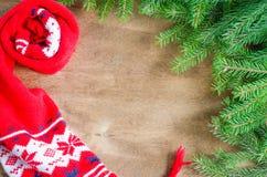 Связанные теплые шарф зимы и ель ветви на деревенской деревянной предпосылке с космосом экземпляра Стоковые Изображения
