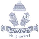 связанные шарф зимы и mitten и крышка Стоковые Изображения