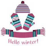 связанные шарф зимы и mitten и крышка Стоковое Фото