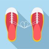 Связанные шнурки на значке ботинок, плоском стиле иллюстрация штока