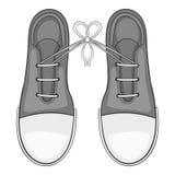 Связанные шнурки на значке ботинок, сером monochrome стиле бесплатная иллюстрация