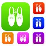 Связанные шнурки на собрании шутки ботинок установленном иллюстрация вектора