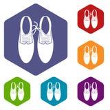 Связанные шнурки на установленных значках шутки ботинок бесплатная иллюстрация