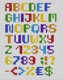 Связанный английский шрифт с номерами и символами вектор комплекта сердец шаржа приполюсный isola Стоковое Фото
