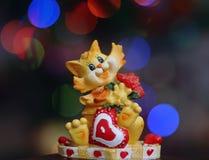 связанный вектор Валентайн иллюстрации s 2 сердец дня Кот с сердцем Стоковое Фото
