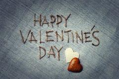 связанный вектор Валентайн иллюстрации s 2 сердец дня Полюбите поздравительную открытку Стоковая Фотография RF