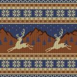 Связанный гобелен шерстей с оленями на предпосылке гор, звездного неба и елевого леса иллюстрация вектора