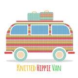 Связанный красочный винтажный фургон hippie Стоковое Изображение