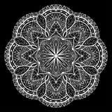 Связанный, кружевной, мандала вектора на черной предпосылке Стоковые Фото