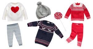Связанный ребенок зимы одевает коллаж не изолировал никто Стоковое Изображение RF