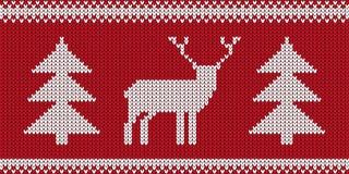 Связанный сделайте по образцу - ретро дизайн прыгуна рождества с северным оленем и деревом - красную и белую иллюстрацию вектора иллюстрация штока