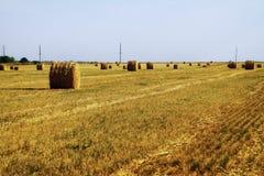 Связка на поле стерни в лете на заходе солнца Стоковое фото RF