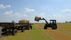 Связка сена трактора поднимаясь Стоковое Фото
