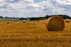 Связки сена лежа в открытом поле, южной Франции стоковое фото