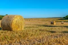 Связки сена - сельский ландшафт, конец солнечного дня Стоковые Изображения RF