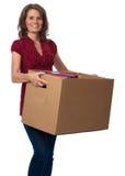 связыватели кладут двигая сь женщину в коробку нося стоковое изображение