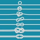 Связывать узел Морские связанные узлы веревочки, морские веревочки и набор иллюстрации вектора рассекателя cordage свадьбы иллюстрация штока