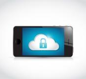 Связь безопасностью телефона и облака иллюстрация вектора