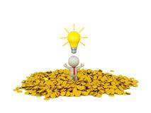 связь бизнесмена характера 3D нося с идеей электрической лампочки и идет Стоковые Изображения
