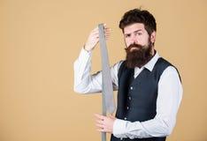 Связь и стильна и элегантна Стильный бизнесмен Бородатый человек держа стильный галстук Зверский носить парня стоковое изображение