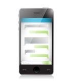 Связь текстового сообщения используя smartphone. иллюстрация штока