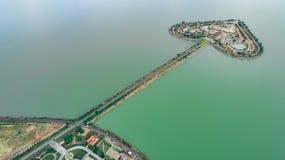 Святая земля сердца - Talayluang в Sukhothai, Таиланде Воздушный v Стоковые Изображения