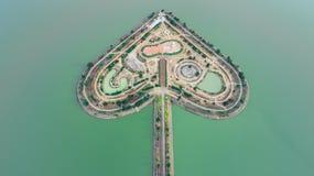 Святая земля сердца - Talayluang в Sukhothai, Таиланде Воздушный v Стоковое Фото