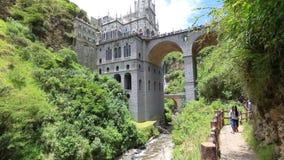 Святилище пути Ipiales Колумбии Las Lajas сток-видео