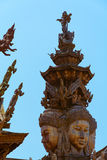 Святилище правды конструкция виска в Pattaya, святилище Thailand Стоковая Фотография RF