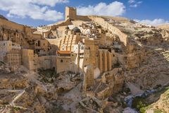 Святое Lavra Sabbas Святого Sanctified mar Saba, Вифлеем стоковые изображения rf
