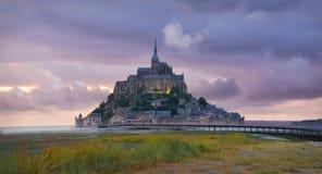Святой Мишель на заходе солнца, Нормандия Mont, Франция стоковые фото