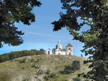 Святой холм в городке Mikulov стоковая фотография