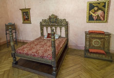 Святой Angelo замока Деталь спальни Внутренний взгляд rome Стоковое Изображение