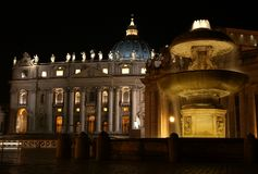 святой peters ночи базилики Стоковое Фото