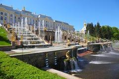 святой petersburg petergof фонтанов Стоковое Изображение RF