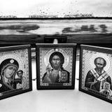 Святые Художнический взгляд в черно-белом стоковая фотография