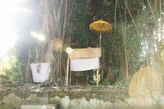 Святыня перед большим деревом на балийском виске с backlight, Pura Samuan Tiga, Ubud, Бали Индонезией Стоковые Изображения RF