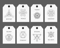 Священная геометрия подписывает комплект ярлыков Стоковые Изображения