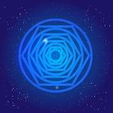 Священная диаграмма геометрии, тоннель, черная дыра, в космическом космосе Волшебный символ в небе вселенной Реальность 3d скрещи Стоковые Фотографии RF