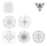 Священная иллюстрация вектора символов и signes геометрии Татуировка битника Цветок символа жизни Стоковые Фото