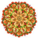 Священная мандала формы пиццы еды Стоковые Фото