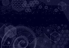 Священная предпосылка символов и элементов геометрии Стоковые Фото